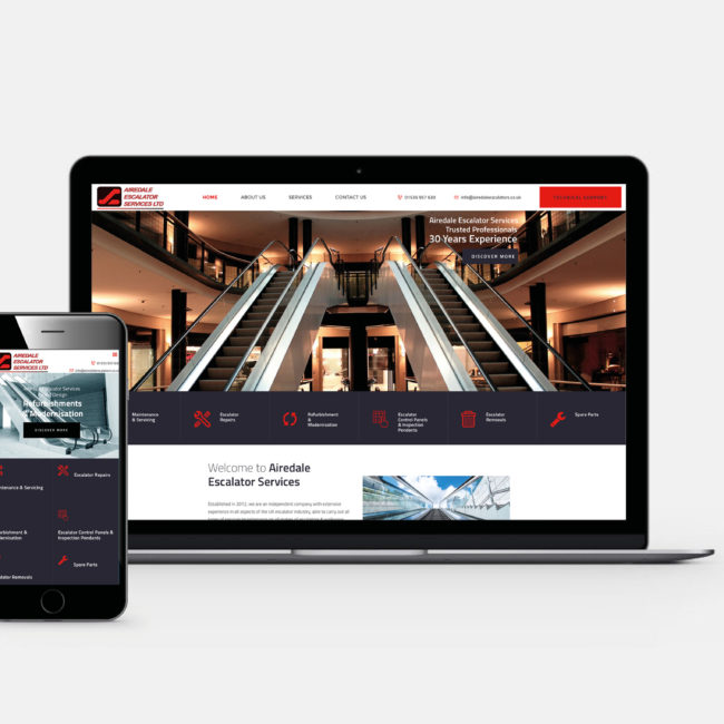 Airedale escalators web design yorkshire