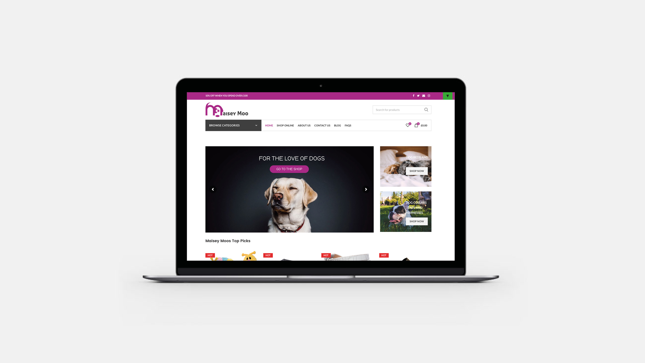 maisey moo e-commerce website